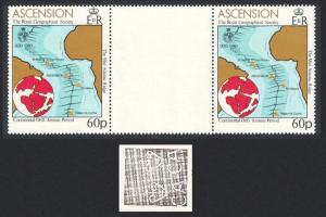 Ascension Royal Geographical Society 60p Gutter pair WATERMARK variety 1980