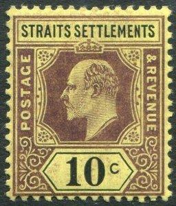 STRAITS SETTLEMENTS-1905 10c Purple & Black/Yellow chalk Sg 132b MM V50189