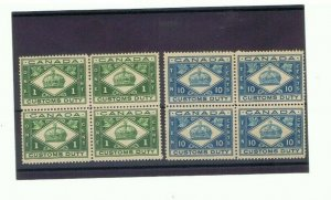 Blocks of 4 mnh One cent and 1 Cents Canada Customs Duty