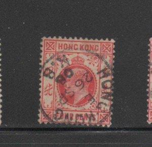 HONG KONG #89  1904  4c  KING EDWARD VII    USED F-VF  a