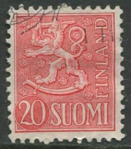 Finland - Scott 320 - Arms of Finland -1954- FU - Single 20m Stamp