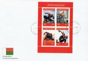 Madagascar 2019 FDC Spider-Man Spiderman 4v M/S Marvel Comics Superheroes Stamps
