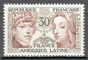 France 1956, Maya Indians & Renaissance Lady 30fr, Sc # 795,VF MVLH*OG (FR-5)