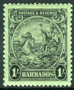 BARBADOS-1932 1/- Black/Emerald Perf 13½x12½ lightly mounted mint Sg 237a
