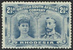 RHODESIA 1910 KGV DOUBLE HEAD 21/2D PERF 13.5