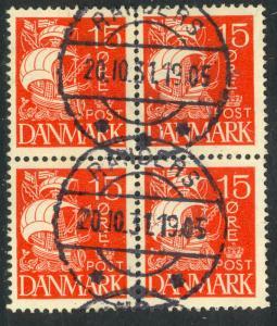 DENMARK 1927 15o Red CARAVEL SHIP Issue BLOCK OF 4 Sc 192 VFU