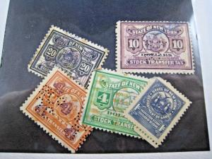 U.S. NEW YORK STATE TAX STAMPS - LOT OF 5