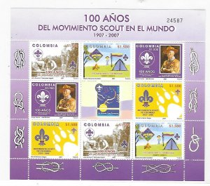 Colombia 2007 Scouting Centenary Sc 1274 Sheet MNH C1