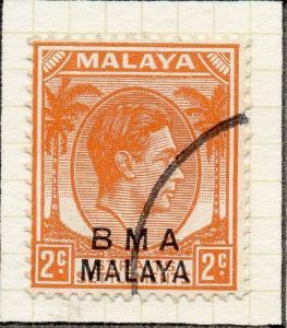 Malaya Straights Settlements 1945 Early Shade of Used 2c. BMA Optd 307975