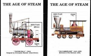 BHUTAN 1993 Scott 810-821 (12) Full Set of Vintage Locomotives Sheets  VF/NH
