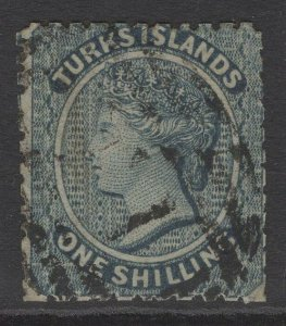 TURKS ISLANDS SG3 1867 1/= DULL BLUE USED