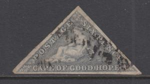 Cape of Good Hope Sc 5c, SG 7d used 1863 6p Hope Seated Triangular, VF appearing