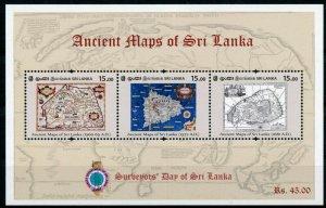 Sri Lanka 2020 MNH Ancient Maps Stamps Cartography Surveyors Day 3v M/S