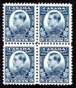 Scott 193, 5c Prince of Wales, MNHOG, F, Block of 4, 1932, Canada Postage Stamps