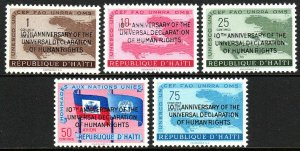 Haiti 442-443,C136-C138, MNH. Declaration of Human Rights.Ovptd. in English,1959