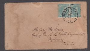 **CSA Cover, SC# 7(Pair) Charlottesville (Misspelled CDS), VA 1/3/1865, Turned
