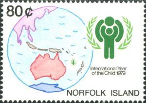 Norfolk Island 1979 SG229 80c IYC emblem and map MNH