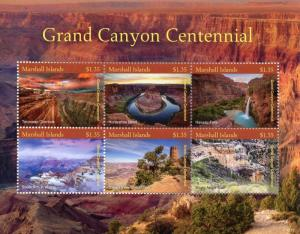 Marshall Islands Stamps 2018 MNH Grand Canyon Centennial Falls Mountains 6v M/S