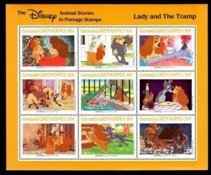 GRENADA - 1988 - DISNEY - LADY & THE TRAMP - DOGS - ANIMAL STORIES - MINT SHEET!