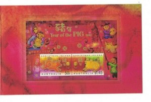 MCI37) Christmas Island 2007 Year of the Pig Minisheet Stamp Pack MUH