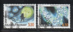 Greenland Sc 427-28 2004 Norse Mythology stamp set used