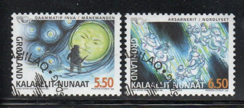 Greenland Sc 427-28 2004 Norse Mythology stamp set used