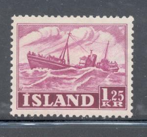 Iceland Sc 265 1952 1.25 kr fishing trawler stamp mint