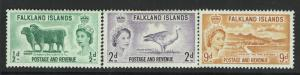 Falkland Islands SG# 187, 189 and 191, Mint Hinged - S4119