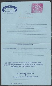 LIBERIA 1959 10c 'meter impression' aerogramme commercial use to Germany....N329