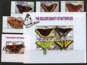 Sierra leone 2004 butterflies insects set+klb+s/s MNH