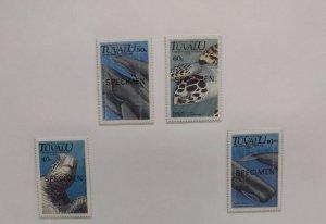O) 1991 TUVALU, SPECIMEN, ENDANGERED MARINE LIFE, GREEN TURTLE, HUMPBACK WHAL...