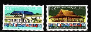 Nauru.-Sc#128-9-Unused NH set-Commission Conference-Flags-1975-
