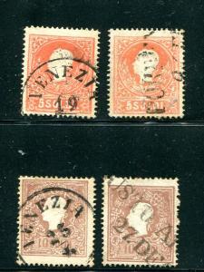 Austria Lombardy #10 and #11 Type I and II     - Lakeshore Philatelics