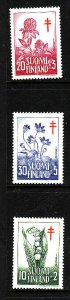 Finland-Sc#B148-50-unused very light hinged set-Flowers-Flora-1958-