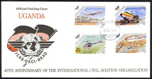 Uganda Sc# 422-425 FDC 1984 10.29 Civil Aviation 40th