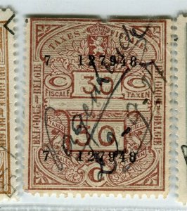BELGIUM; Early 1900s fine used TAXES FISCALES Revenue issue used value, 30c