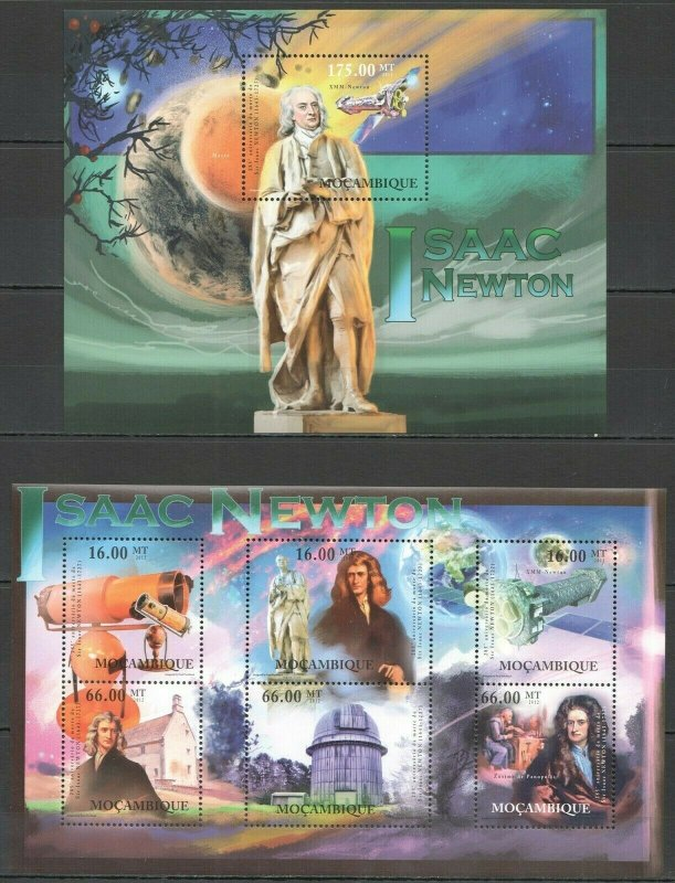 BC993 2012 MOZAMBIQUE SPACE GREAT SCIENTIST ISAAC NEWTON BL+KB MNH