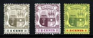 MAURITIUS 1904-07 Arms Watermark Multiple Crown CA Group SG 164 to SG 166 MINT