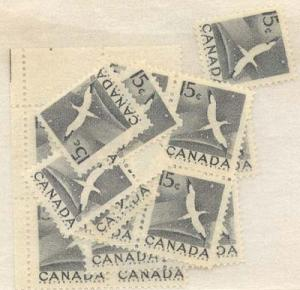 Canada - 1954 15c Gannet X 50 mint inc. blocks #343