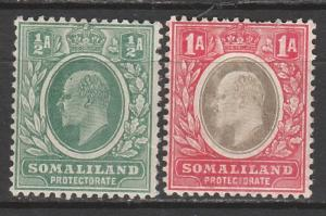 BRITISH SOMALILAND 1905 KEVII 1/2A AND 1A WMK MULTI CROWN CA