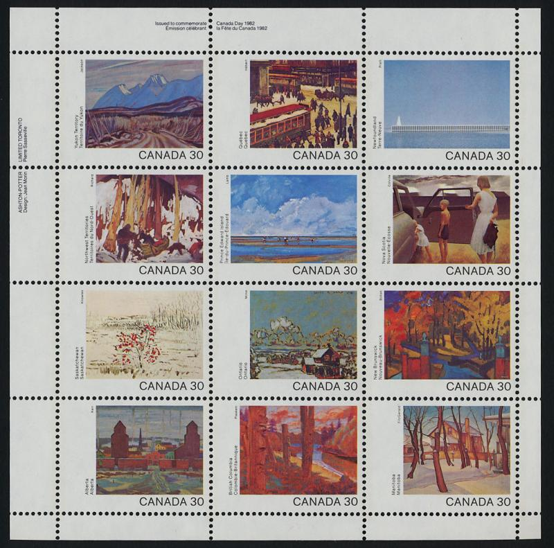 Canada 966a TL Plate Block MNH Art, Canada Day