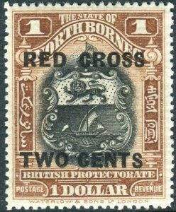 NORTH BORNEO-1918 $1 + 2c Chestnut.  A lightly mounted mint example Sg 231