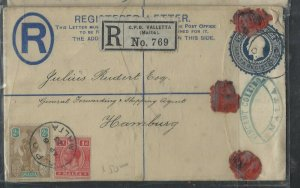 MALTA COVER  (P0404BB)  1923  KGV  3D RLE+1D+ MELITA 2D SENT TO GERMANY