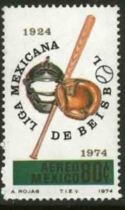MEXICO C436, 50th Anniv of the Mexican Baseball League. MINT, NH. F-VF.