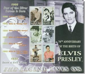 Maldives MNH S/S Elvis Presley 70th Anniversary Of Birth 6 Stamps Extra Large Si