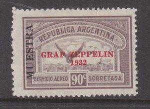 ARGENTINA, 1932 GRAF ZEPPELIN overprint, 90c. Purple Brown, MUESTRA, lhm.