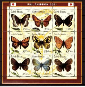 Guinea-Bissau MNH S/S Butterflies 2001 9 Stamps