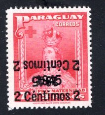 Paraguay #425, Error –  Doulbe Overprint, One Inverted  MNH ... 4910312