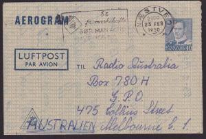 DENMARK 1950 40o aerogramme commercially used to Australia..................5860