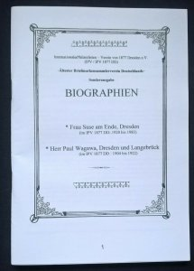 philatelic-literature BIOGRAPHIEN Frau SUSE AM ENDE & PAUL WAGAWA Dresden